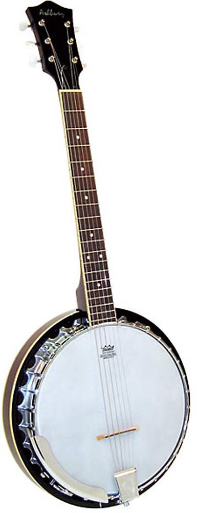 Ashbury 6 String Guitar Banjo, Mahogany