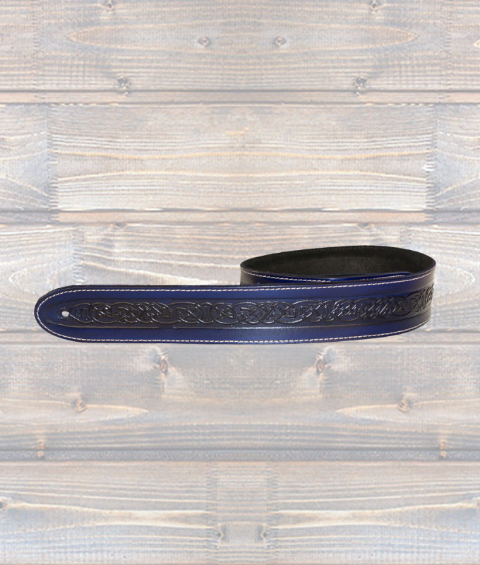 Celtic Embossed Guitar Strap – Blue