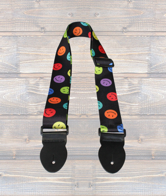 Graphic Guitar Strap XL – Smiley Face
