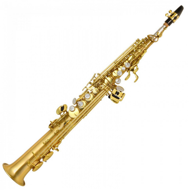 P. Mauriat Le Bravo 200 soprano saxophones are unique for their beautifully brushed clear lacquer finish showing the natural color of the brass underneath and the bright, energetic tone from its dual alloy combination. • Silver Plated Neck • 2-neck detachable body • No engraving • Key touches: Mother of pearl • Intermediate I Professional class • Range: Low Bb to high F# • Finish: Matte clear lacquer • Soft case included About P. Mauriat Music is the universal language of the people. It is the medium by which we can individually or collectively share our ideas and express life's vast range of emotions. Whatever the tool chosen for this endeavor, it must act as an extension of the body, a soundboard for the soul. That is why P. Mauriat takes pride in providing the most ergonomic and efficient instruments for the musicians of the world. Instead of a barrier cast between the player and music-making, our instruments are the keys that unlock doors to creative minds. The craftsmanship that goes into each instrument by P. Mauriat is second to none. Our French brass and other metals are exceptionally resonant due to the extensive hand-hammering process it must endure in our factory. A single saxophone body will be hammered as many as 400 times before proceeding to the next technician for final shaping. Each tone hole is drawn from the saxophone one by one to ensure precision and consistency required for excellent response and intonation. Our lacquer process is applied by three separate stages in order to achieve a timeless, vintage look that will last for ages. The final hand engraving process is manually accomplished with nothing more than a simple handheld tool and years of experience. Once complete, each instrument is carefully inspected and tested by one of our full-time quality control artists to ensure you receive the absolute finest instrument. P. Mauriat instruments represent the embodiment of aesthetic beauty and technical precision. All of our horns are handmade in order to bring out the innate characteristics and sound of each exclusive model. The natural quality of our horns is what we believe differentiates us from all others, and we believe that you will hear it too. With a P. Mauriat you can 'Go for the Sound'.